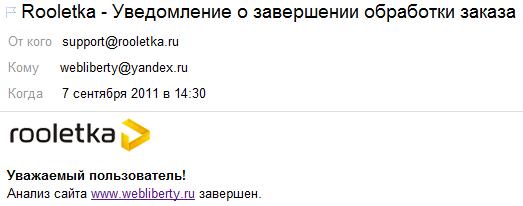 Анализ сайта в Rooletka завершен