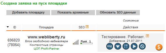 Создана заявка на пуск площадки Рекламной сети Яндекса