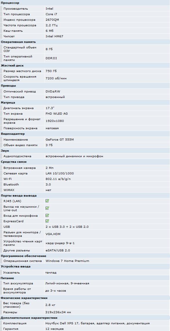 Dell XPS L702x конфигурация, характеристики