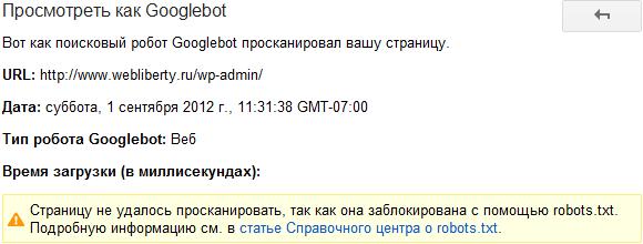 Googlebot не удалось проиндексировать страницу