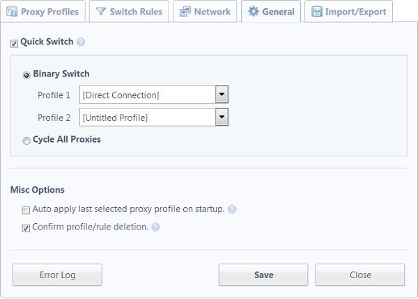Переключение между прокси-серверами