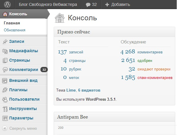 Консоль WordPress