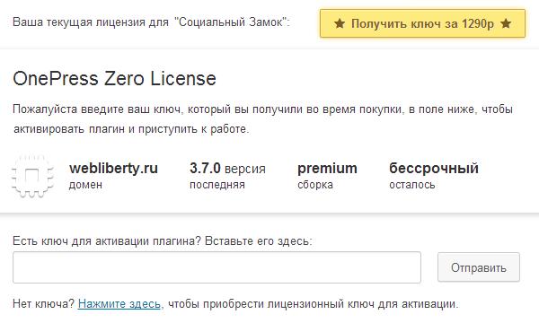 Ввод лицензионного ключа